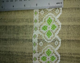Vintage decorative white lace with green accents, wedding decor, home decor, journal decor, many other uses for this pretty trim