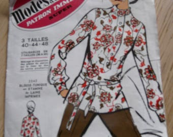 vintage long sleeve tunic blouse pattern right collar