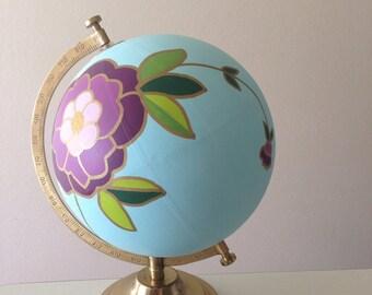 Hand painted globe, floral globe, wedding globe, guest book globe