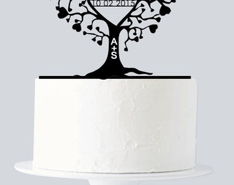 Unique Wedding Cake Topper, Custom Cake Topper, Last Name & Date Cake Topper with Name Initials, Wedding, Anniversary, Birthday A774