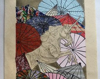 Unicorn Amongst Umbrellas XXXII- Multimedia - Lino Block Print Unicorn with Collaged Japanese Papers & Ephemera Parasols