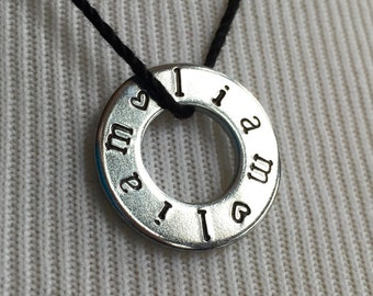 Liam  Necklace Hand Stamped Washer Jewelry Fandom Name Accessories