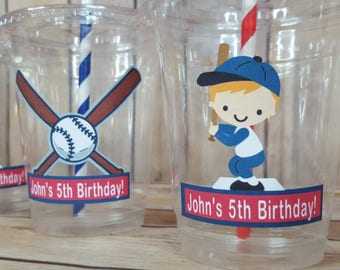 12 Personalized Baseball Themed Party Cups with Lids and Straws