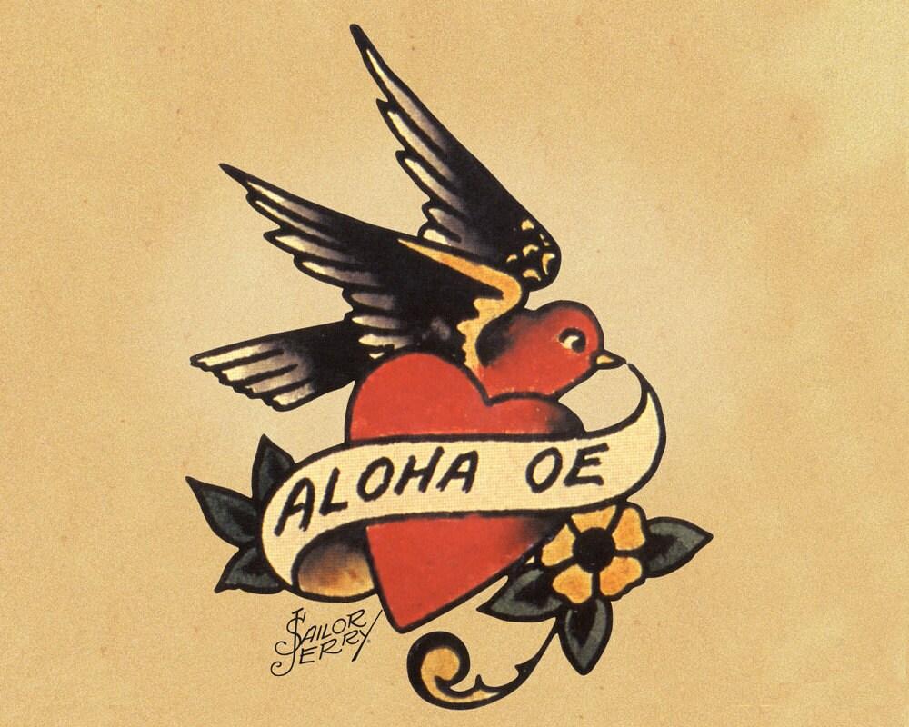 Aloha Oe Bird Heart Sailor Jerry Tattoo Enamel Metal TIN