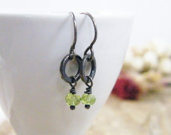 tiny dangle earrings of peridot and sterling silver