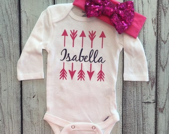 Baby Girl Onesie, Custom Name, Monogram Arrow, Bodysuit for girls, Girls Onesie, Baby Clothing