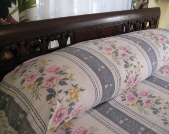 Vintage Flannel Blanket - Cottage Style - Pink and Gray - Soft