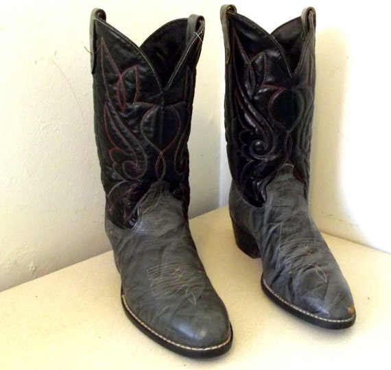 Vintage grey and 5 Cowboy 10 wide Black 12 size leather Cowgirl EE or Boots size rfqrwxtI