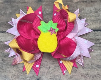 Pineapple Bow - Pineapple Hair Bow - Pineapple Hairbow - Pineapple Hairbows - Pineapple Party Bow - Summer Hair Bow - Girls Bow - Pineapple