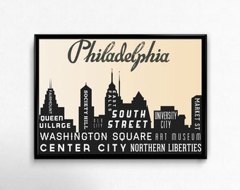 SALE, Philadelphia Typography Poster. Philly Skyline Typography Art Print. Holiday Gift. Inspirational Art. City Art Print.
