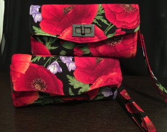 Red Poppies Necessary Clutch Wallet