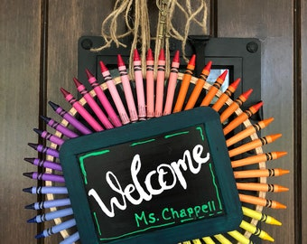 Personalized Crayon Teacher Welcome Wreath