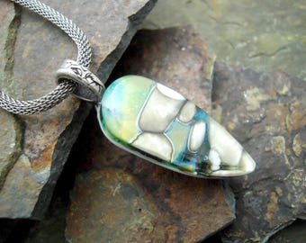 Organic fused glass pendant, rock look, reactive glass, OOAK pendant, Made in Montana