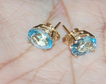 14K Gold Blue Topaz Earrings Studs ~ VIBRANT ~ 14KT Yellow SOLID Gold