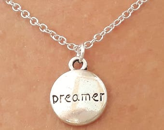 Dreamer Necklace - Charm Necklace - Dreamer Jewelry - Silver Chain Necklace - Word Jewelry - Word Necklace - 2 Sizes Available