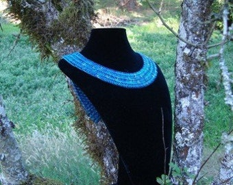Maya Blue - Chainmaille Collar and Multi-hue Reversible Distressed Necklace
