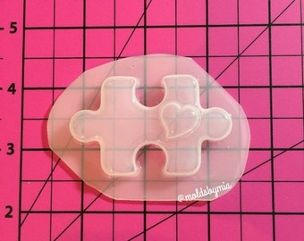 ON SALE ON Sale! Puzzle heart  flexible plastic resin mold