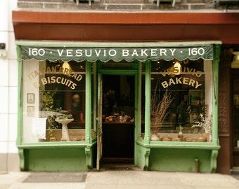 New York Photography, Vesuvio Bakery, SoHo, NYC, Shop, Kitchen Decor, Home Decor, sage green, gold, Wall Art
