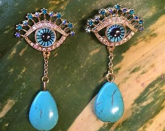 Blue Eye Earrings, Blue Eyeball Earrings, Glass Eye Earrings, Evil Eye Earrings, Protection Earrings, Turquoise Bead Earrings, Ojo Earrings