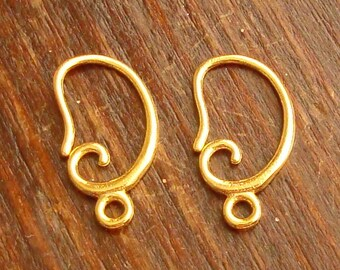 4 Pieces (2 Pairs), Curvy French Hook Ear Wire with Closed Ring, 24k Gold Vermeil, 16.5x9mm, VE211
