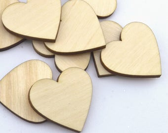 100 Laser cut wooden hearts 1x1 Inches - Made to order