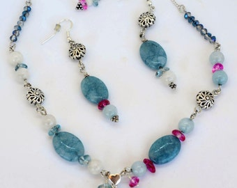 Aquamarine Necklace, Aquamarine Pendant, Aquamarine Earrings, Moonstone Necklace, Gemstone Necklace Earrings Set, OOAK Necklace, 94