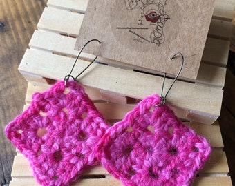 Hot Pink Granny Square Crochet Dangle Earrings