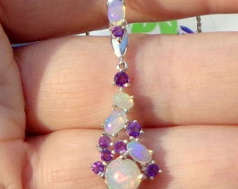 Welo Opal, Rainbow Moonstone, Amethyst, Sterling Silver Necklace, All Natural Gemstones, Gorgeous Pendent