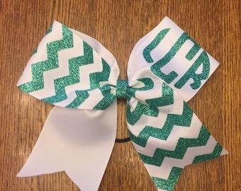 Chevron monogramed cheer bow