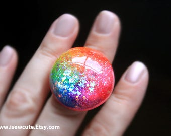 Rainbow Resin Ring - Summer Outdoors Festival Jewelry Shimmery Highlights & Tiny Glitter Stars Ring - Cute Fun Colorful Jewelry by isewcute