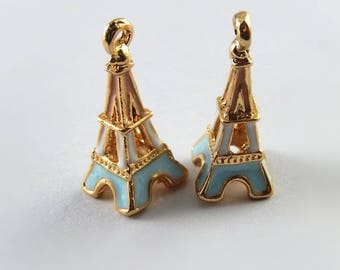 Eiffel Tower pendants, gold and enamelled, color 23 * 10 * 10 mm set of 2