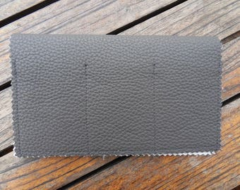 CHECKBOOK holder gray leather