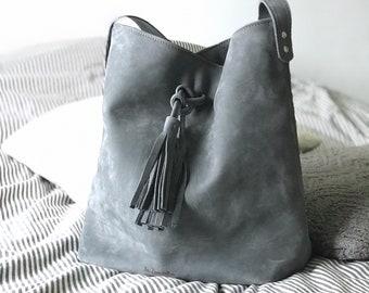 Hobo L grey - shoulder bag - leather bag