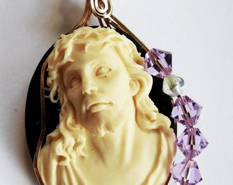 Crown of Thorns Cameo with Swarovski Crystals Wrapped in Gold Filled Wire
