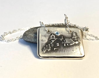 Bass Harbor Head Lighthouse Necklace, Acadia Maine Lighthouse, Maine Gift, Maine Jewelry, Nautical Jewelry, Beach Necklace, Seascape Charm