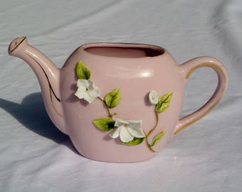 vintage lefton pink china watering can with applied flowers and gold trim