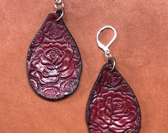 Leather Rose Earrings