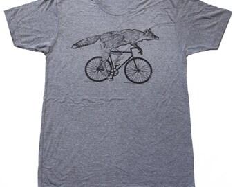 Fox on a bicycle- Mens T Shirt, Unisex Tee, Tri Blend Tee, Handmade graphic tee, sizes xs-xxl