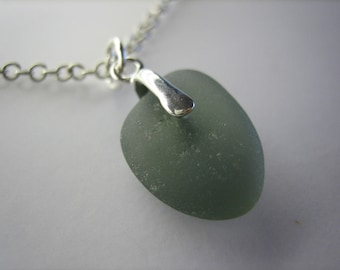 GENUINE SEA GLASS Necklace Sterling Silver Rare Grey Gray Real Surf Tumbled Natural Unenhanced Beach Seaglass Pendant Jewelry Quality N 495h