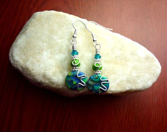Green and Turquoise Wire Wrapped Polymer Clay Earrings