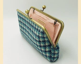 Harris Tweed bag, teal, white, blue tweed purse, houndstooth clutch bag, pink silk lining, personalised handbag, gift for her