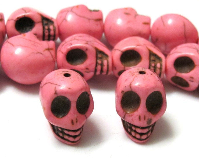17 mm Large Pink skull beads - 2 pieces - GM193