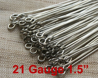 21 Guage Antique Silver Tone  Eye Pins 38mm 1.5 inches  - 100 pcs