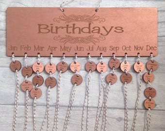 Personalised Wooden Family Birthday Calendar, Anniversary Reminder Plaque, Shabby Chic Family Calendar Engraved and laser cut