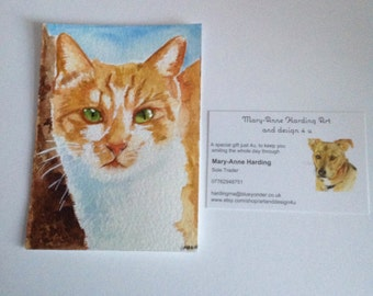 """Ginger Cat painting, 5""""x3.5inches, Original mini painting, Cat painting, Original  Cat Art, Cat Watercolour Painting, Cat Lover Gift"""