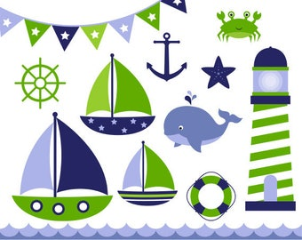 Nautical Clip Art - Navy and Green, Sail Boat Clipart, Sea Side Clipart, Sail Boat Clip Art, Baby Boy, Commercial Use