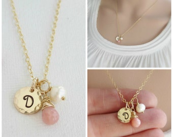 Pink opal necklace Gold initial necklace October birthstone necklace Charm necklace Birthday gift Handstamped gold initial disc necklace