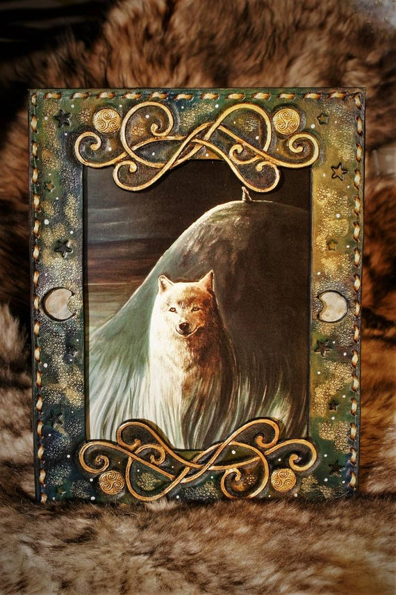 Fantasy illustration, art repro, embossing leather frame, white wolf, moonlight