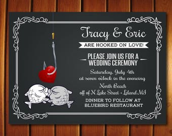 Fishing Wedding Invitation - Unique Wedding invitation - Chalkboard Wedding Invites