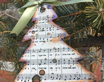 Vintage Christmas Sheet Music Tree Ornament